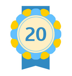 Birthday twentieth badge banner design flat vector