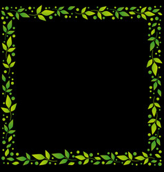 black square background with frame of leaves vector image