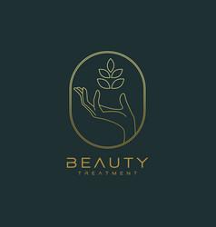 Botanical hand logo design vector
