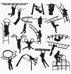 boy-park silhouettes vector image
