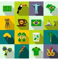 Brazil icons flat vector image