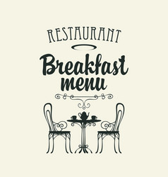 breakfast menu with a table for two vector image