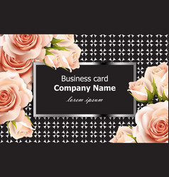Business card delicate roses floral vector