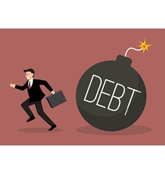Businessman run away from debt bomb vector