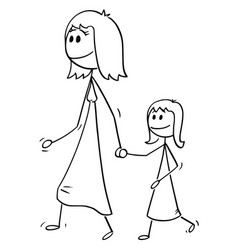cartoon of mother walking with daughter and vector image