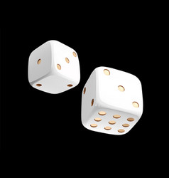 Casino white dice on black background online vector