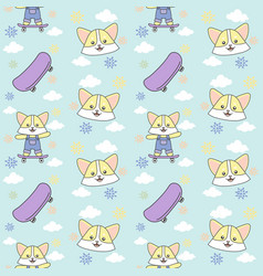 cat skateboard cloud seamless pattern ready for vector image