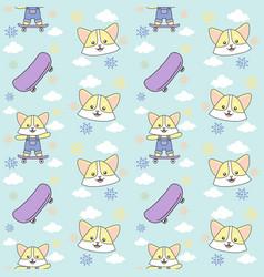cat skateboard cloud seamless pattern ready vector image