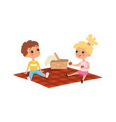 children picnic boy girl eating friendship vector image