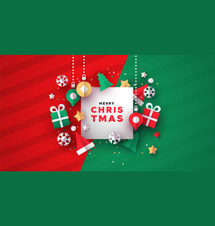 christmas card 3d paper holiday decoration vector image
