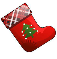 christmas cartoon red boot of santa claus with vector image