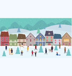 christmas winter wonderland landscape with fairy vector image