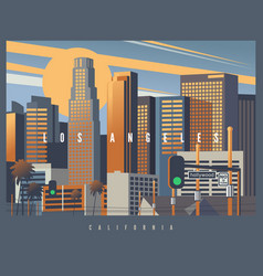 Cityscape los angeles during golden hour vector