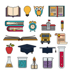 colorful set college education items with vector image