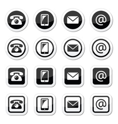 Contact icons in circle and square set - mobile p vector