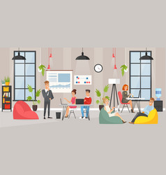 Coworking space area cartoon vector