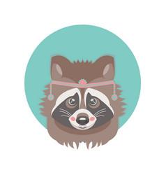 Cute adorable raccoon face vector