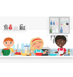 cute boy and girl kids chef cooking in kitchen vector image
