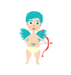 cute curly cupid with a bow and arrow for a vector image