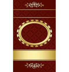 dark brown elegant card with gold decorations vector image