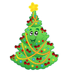 decorated christmas tree 1 vector image