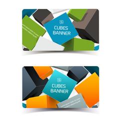 Digital geometric horizontal banners vector