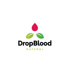 drop blood leaf logo icon vector image