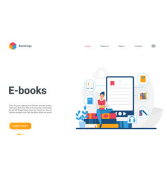 e-books landing page student reading book using vector image