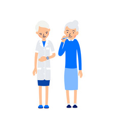 elderly woman measures body temperature holding vector image