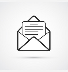 email flat line black icon eps10 vector image