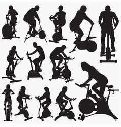 Exercise bike silhouettes vector
