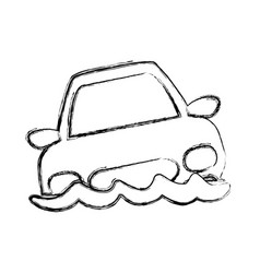 Figure flooded car for danger weather vector