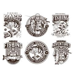 Fishing monochrome emblems vector