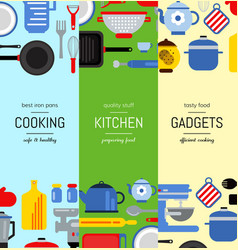Flat style kitchen utensils vertical web vector