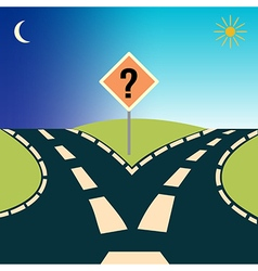 Forked road depicting the concept choices vector