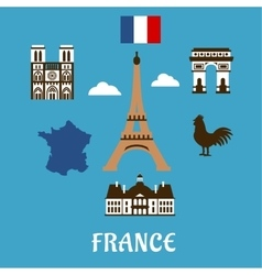 France flat travel and landmark icons vector image