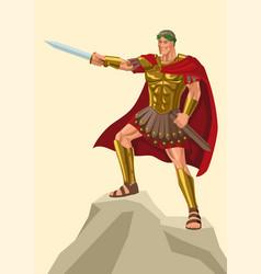 gaius julius caesar standing on rock with his vector image