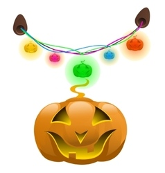 Glowing pumpkins and colorful garland decor vector