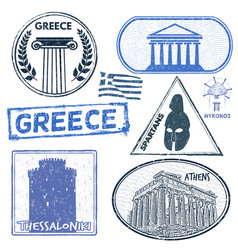 Greece set of stamps vector