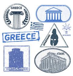 Greece set stamps vector