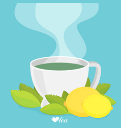 Green tea with lemon flat vector