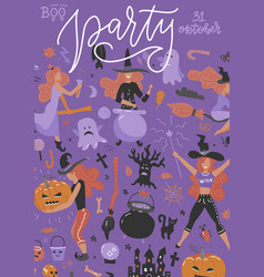 halloween concept party banner with flat icon vector image