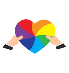 hands holding a rainbow colored heart vector image