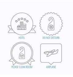 Hotel airplane and do not disturb icons vector