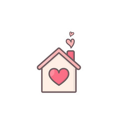 House with hearts inside vector