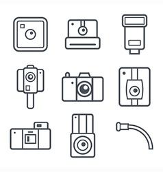 Icons retro photo camera vector