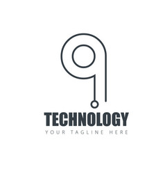initial letter design technology logo template vector image