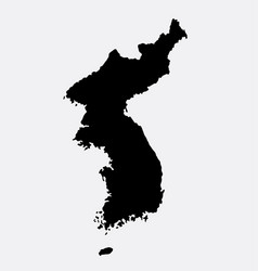 Korea island map silhouette vector