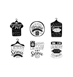 Laundry service wash and fold labels set dry vector