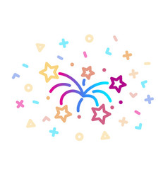 linear colored icon fireworks symbol vector image
